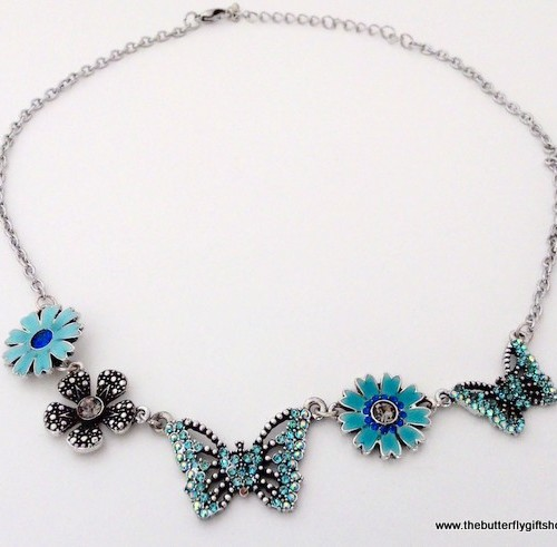 Butterfly & Flower Necklace – Blue