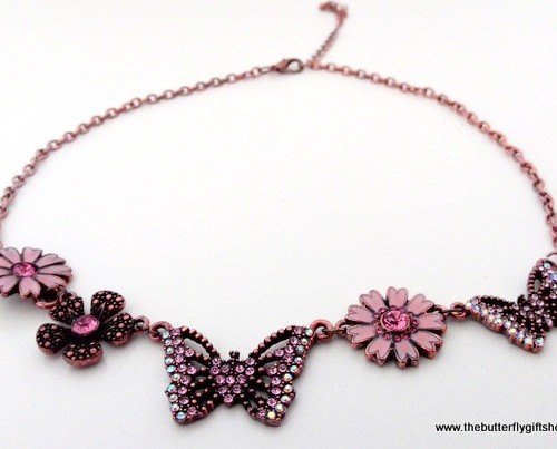 Butterfly & Flower Necklace – Pink