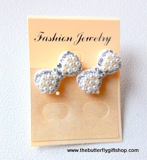 Sweet Bow Stud Earrings with Diamante and Bead details