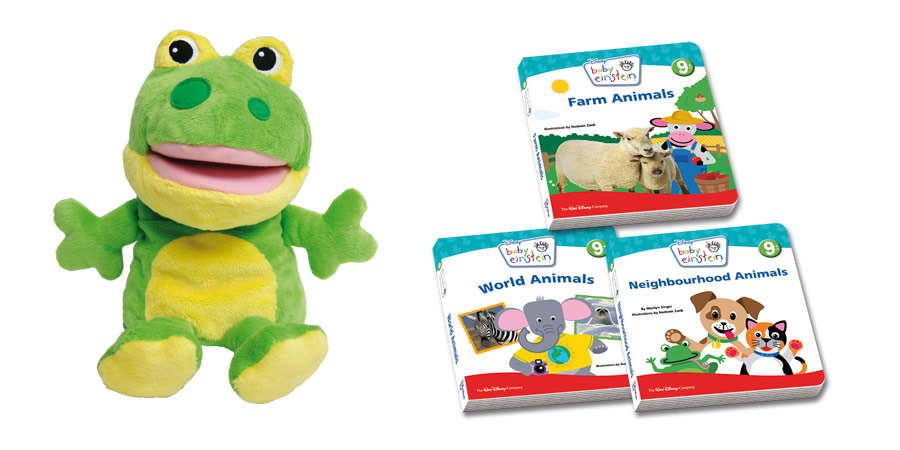 Fun with Animals Friendship Box (Include 3 animal board books and 1 adorable froggy hand puppet)