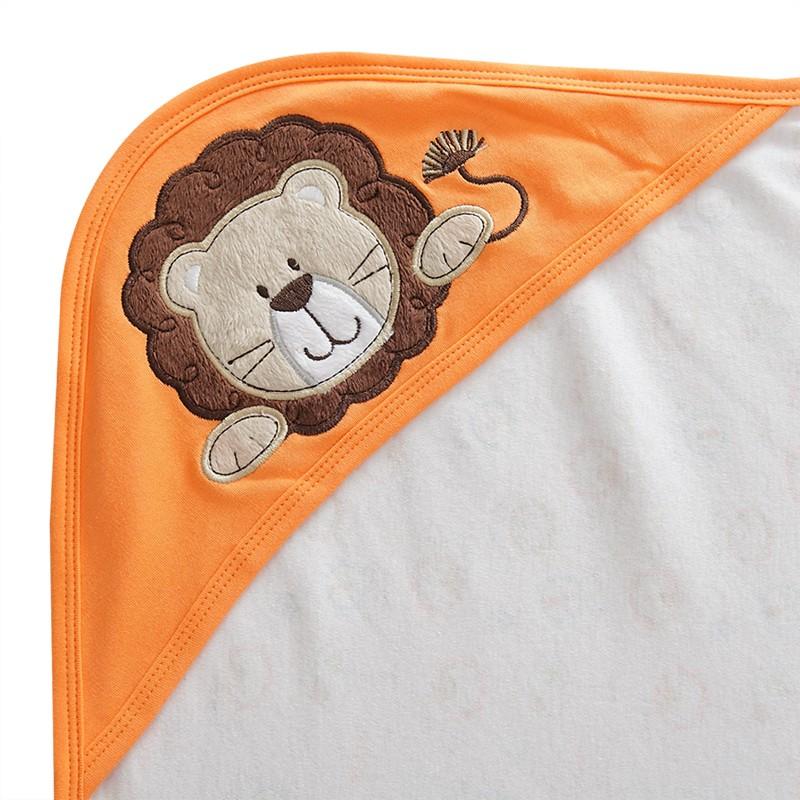 Holabebe Newborn Essential: Cotton Baby Blanket With Hood (LION DESIGN)
