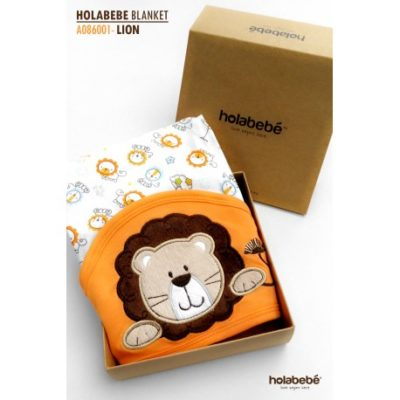 Holabebe Newborn Essential: Cotton Baby Blanket With Hood (LION DESIGN)