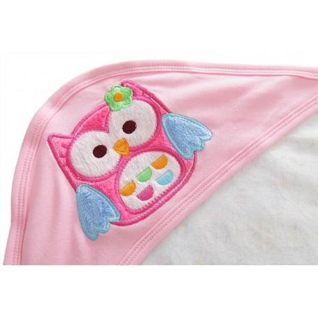 Newborn Essential: Cotton Baby Blanket With Hood (OWL DESIGN)