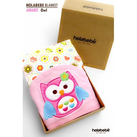 Holabebe Newborn Essential: Cotton Baby Blanket With Hood (OWL DESIGN)