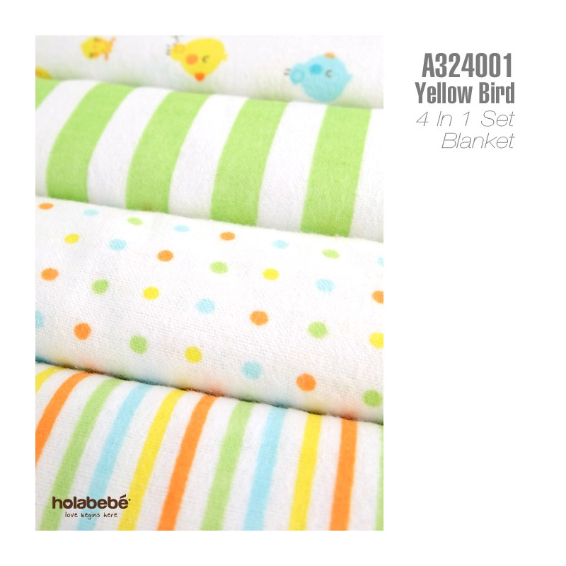 Holabebe Newborn Essential: Cotton Flannel Baby Blanket 4 in 1 Pack