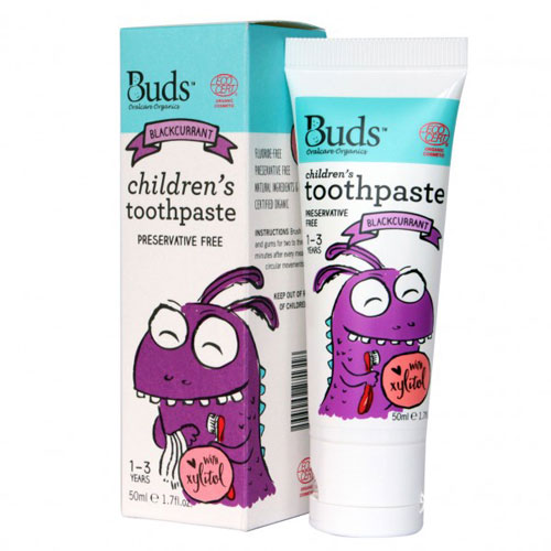 Buds Children's Toothpaste with Xylitol 50ml - Blackcurrant