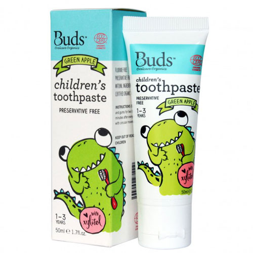 Buds Children's Toothpaste with Xylitol 50ml - Green Apple