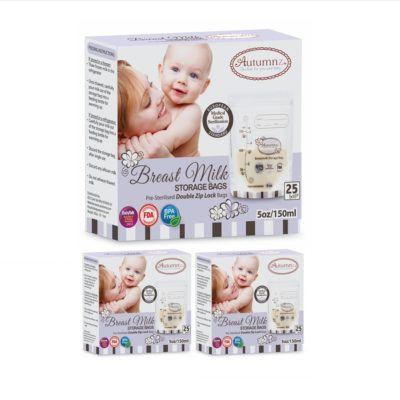 (NEW!) Autumnz - Double ZipLock Breastmilk Storage Bag (25 bags) 5oz