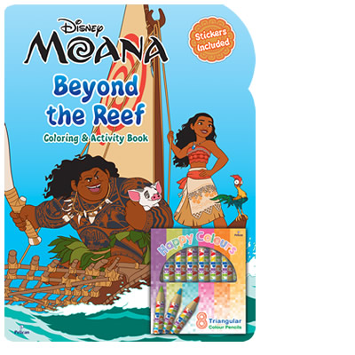 Disney Moana: Beyond The Reef Colouring and Activity Book with Colour Pencils!