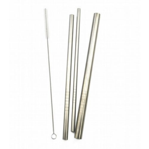 Haakaa - Stainless Steel Straws: Straight with ridges M (3 Pieces) + Straw Brush (2 Pieces)